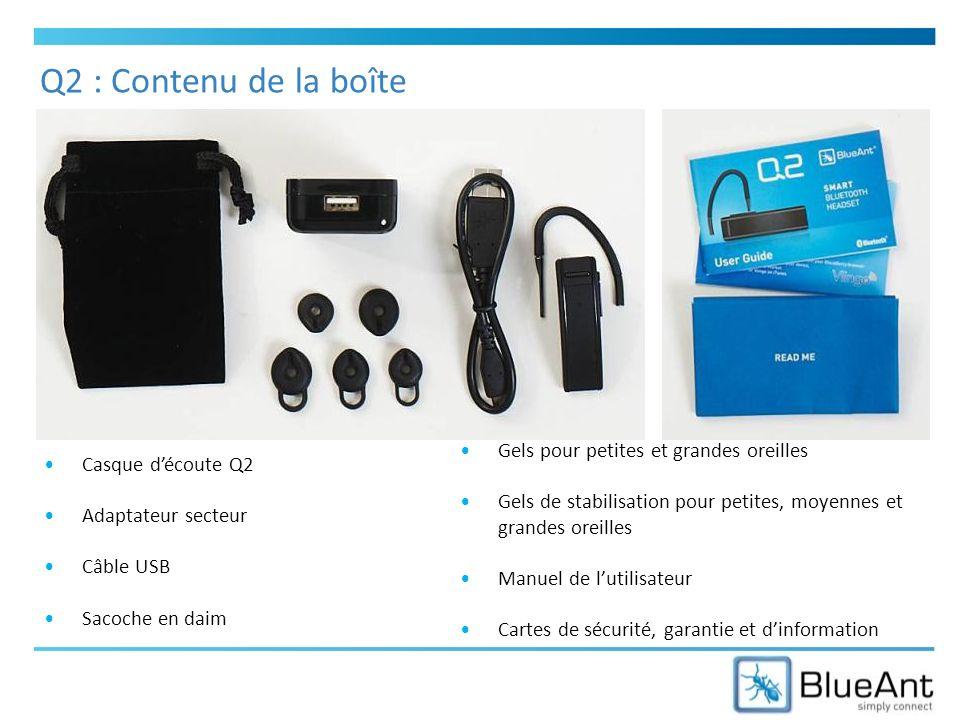 Q2 : Contenu de la boîte Casque découte Q2 Adaptateur secteur Câble USB Sacoche en daim Gels pour petites et grandes oreilles Gels de stabilisation pour petites, moyennes et grandes oreilles Manuel de lutilisateur Cartes de sécurité, garantie et dinformation