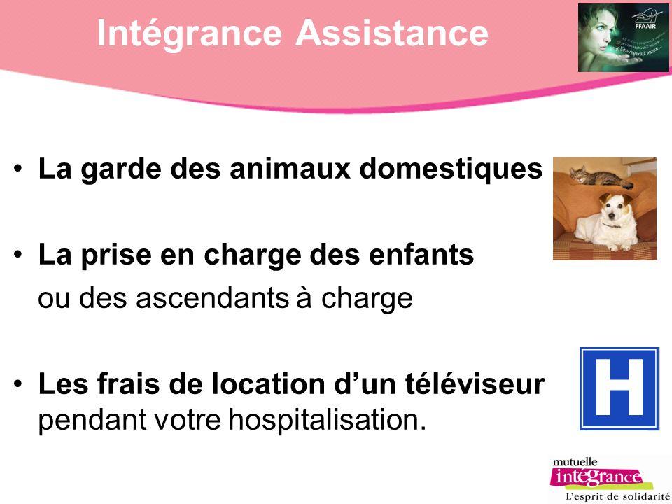 Intégrance Assistance La garde des animaux domestiques La prise en charge des enfants ou des ascendants à charge Les frais de location dun téléviseur