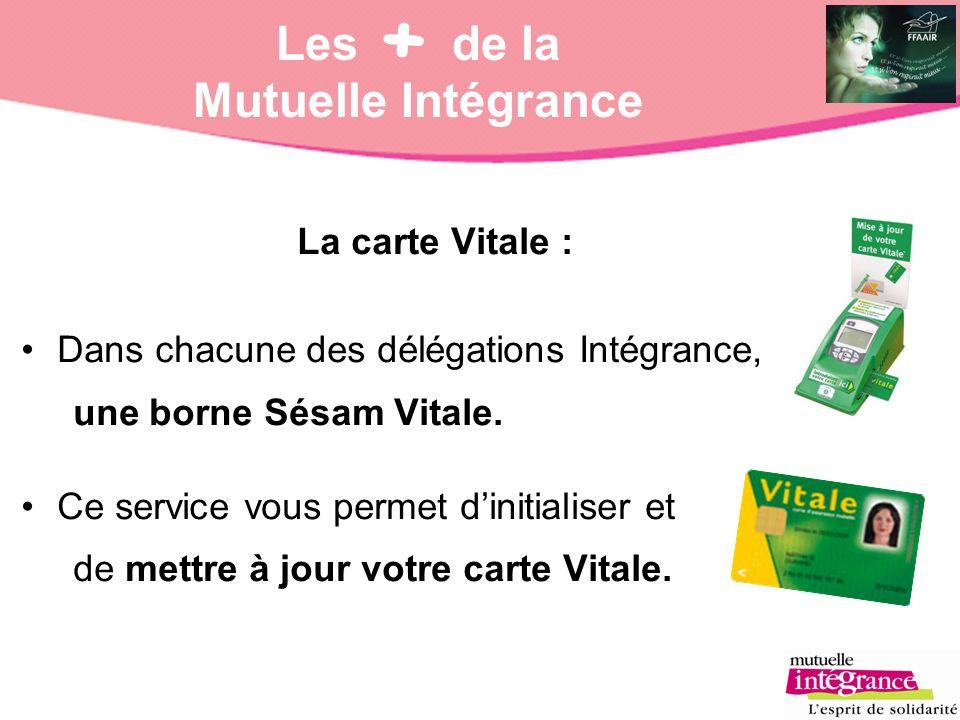 Les de la Mutuelle Intégrance La carte Vitale : Dans chacune des délégations Intégrance, une borne Sésam Vitale. Ce service vous permet dinitialiser e
