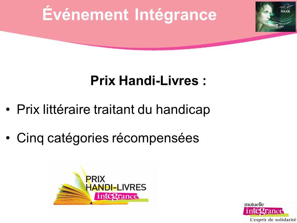 Événement Intégrance Prix Handi-Livres : Prix littéraire traitant du handicap Cinq catégories récompensées