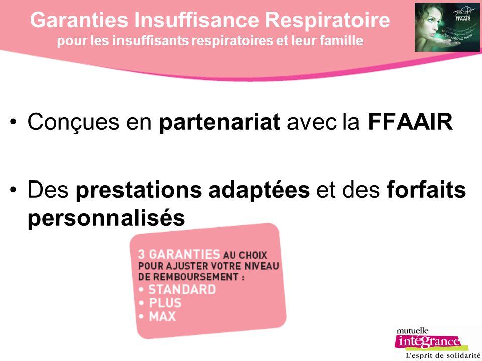 Garanties Insuffisance Respiratoire pour les insuffisants respiratoires et leur famille Conçues en partenariat avec la FFAAIR Des prestations adaptées