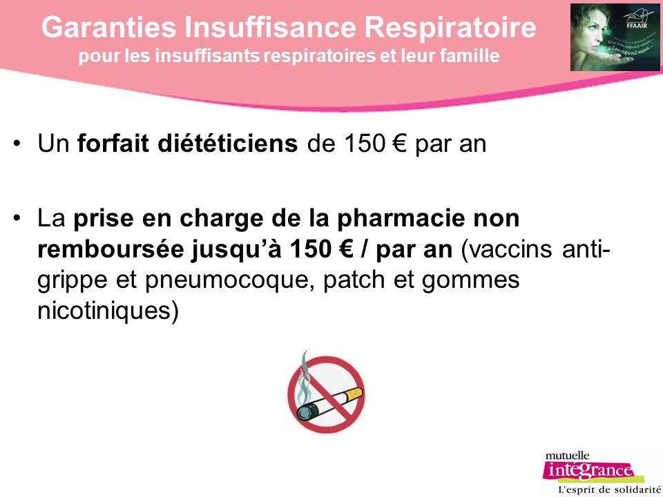 Un forfait diététiciens de 150 par an La prise en charge de la pharmacie non remboursée jusquà 150 / par an (vaccins anti- grippe et pneumocoque, patc