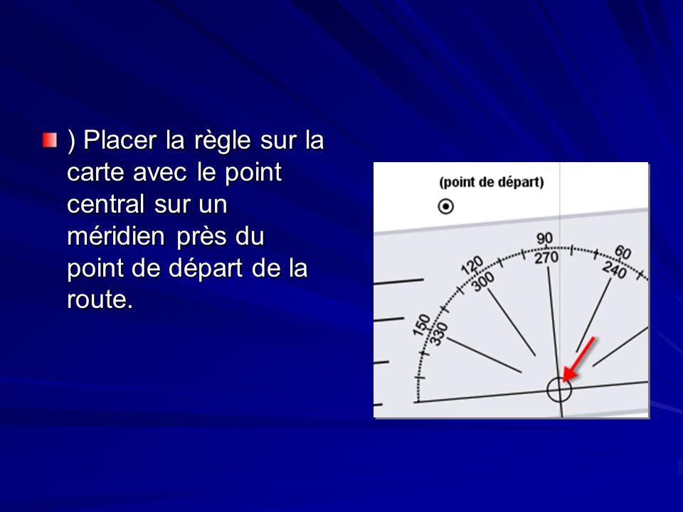 Tracer une route Garder le point central sur le médidien et tourner la règle jusquà ce que la direction de la route sur léchelle (dans cet exemple 80°) soit alignée avec le médidien.