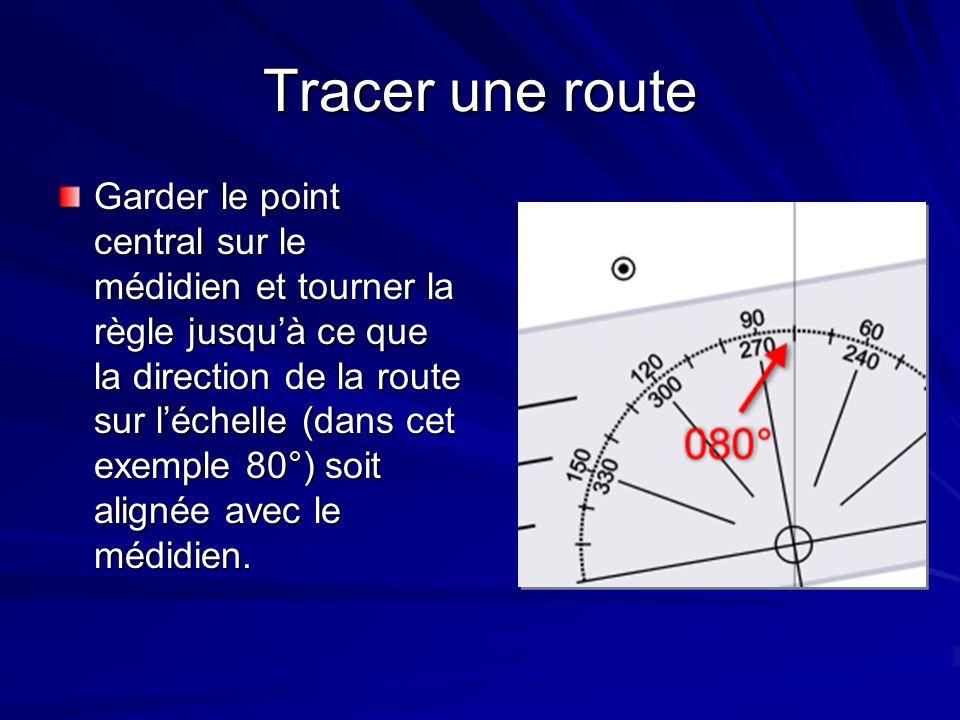 Tracer une route Glisser la règle vers le haut ou vers le bas jusquà ce que le bord de la règle touche le point de départ.