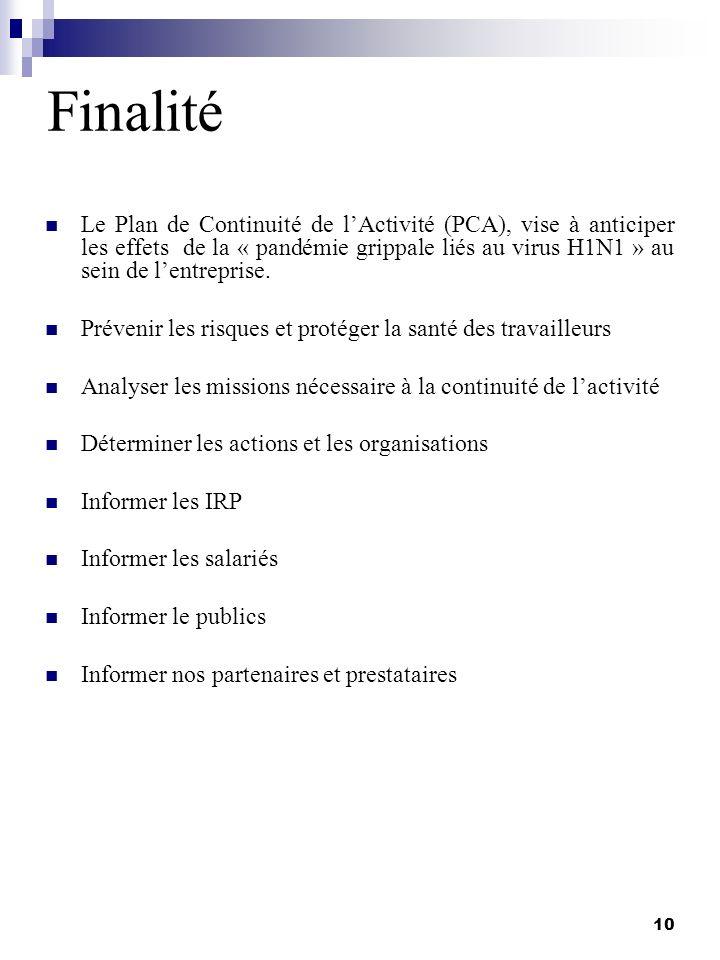 10 Finalité Le Plan de Continuité de lActivité (PCA), vise à anticiper les effets de la « pandémie grippale liés au virus H1N1 » au sein de lentrepris