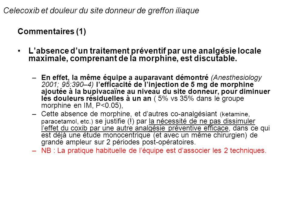 Celecoxib et douleur du site donneur de greffon iliaque Commentaires (1) Labsence dun traitement préventif par une analgésie locale maximale, comprena