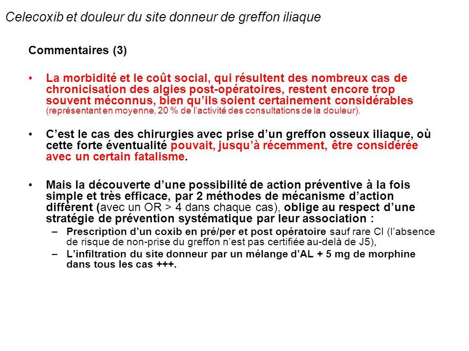 Celecoxib et douleur du site donneur de greffon iliaque Commentaires (3) La morbidité et le coût social, qui résultent des nombreux cas de chronicisat