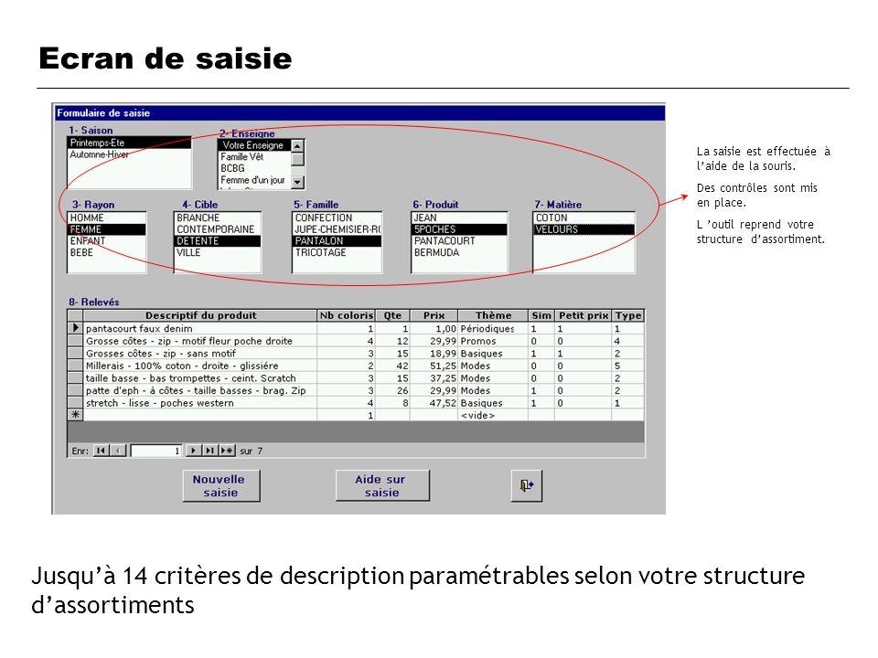 Ecran de saisie Jusquà 14 critères de description paramétrables selon votre structure dassortiments La saisie est effectuée à laide de la souris. Des