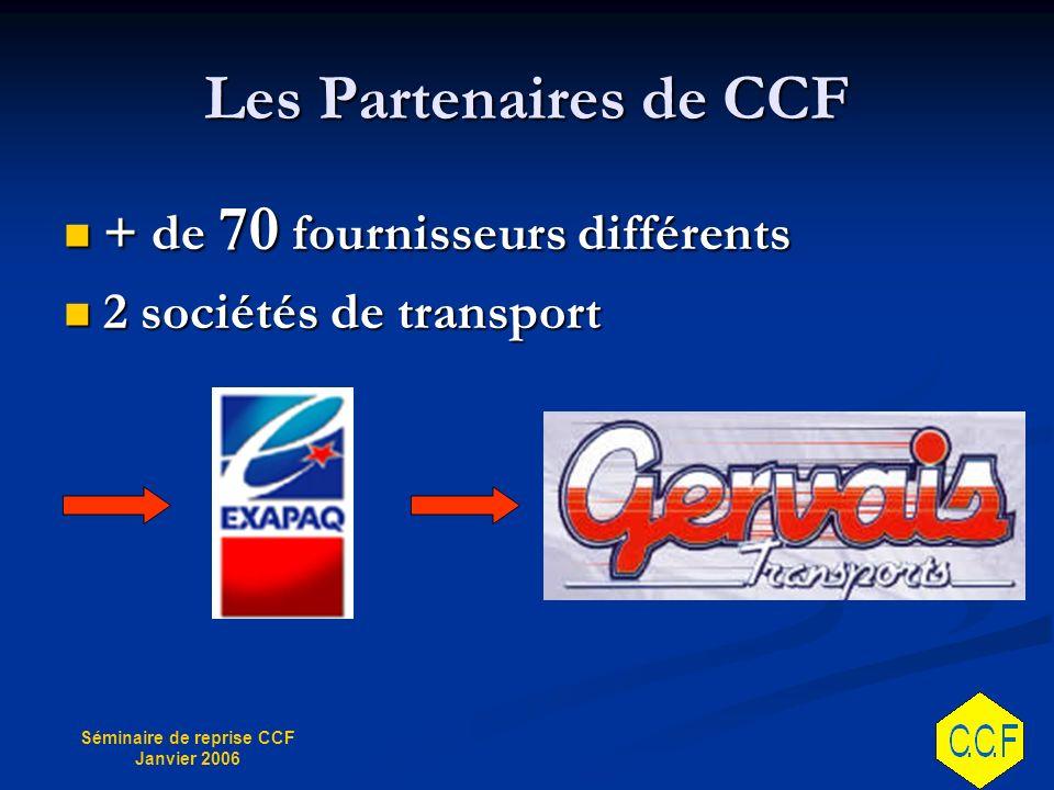 Séminaire de reprise CCF Janvier 2006 Les Partenaires de CCF + de 70 fournisseurs différents + de 70 fournisseurs différents 2 sociétés de transport 2 sociétés de transport