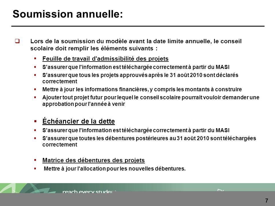 8 Soumission annuelle: Lors de la soumission du modèle avant la date limite annuelle, le conseil scolaire doit remplir les éléments suivants : Produits de l aliénation Mettre à jour l information jusqu au 31 août 2011.