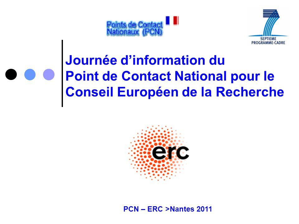 PCN – ERC >Nantes 2011 Journée dinformation du Point de Contact National pour le Conseil Européen de la Recherche