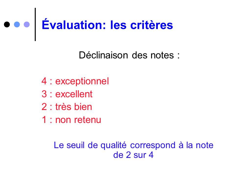 Évaluation: les critères Déclinaison des notes : 4 : exceptionnel 3 : excellent 2 : très bien 1 : non retenu Le seuil de qualité correspond à la note
