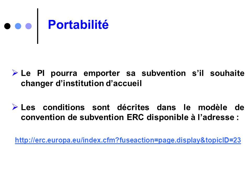 Portabilité Le PI pourra emporter sa subvention sil souhaite changer dinstitution daccueil Les conditions sont décrites dans le modèle de convention d