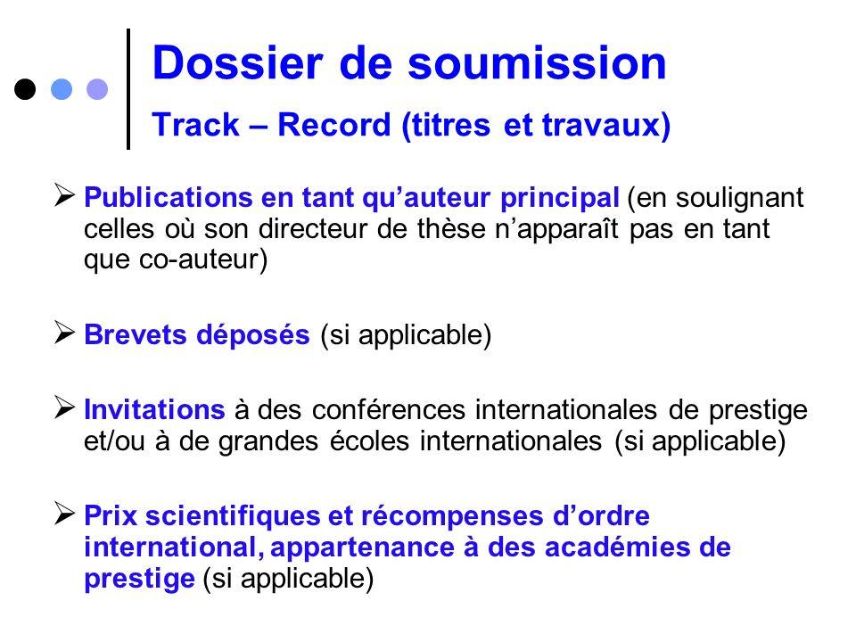 Dossier de soumission Track – Record (titres et travaux) Publications en tant quauteur principal (en soulignant celles où son directeur de thèse nappa