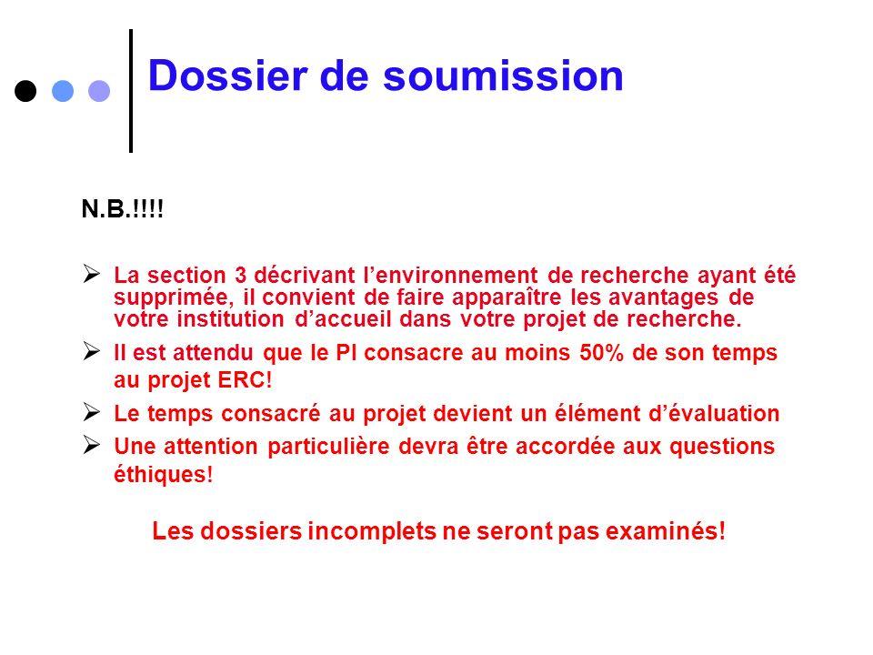 Dossier de soumission N.B.!!!! La section 3 décrivant lenvironnement de recherche ayant été supprimée, il convient de faire apparaître les avantages d
