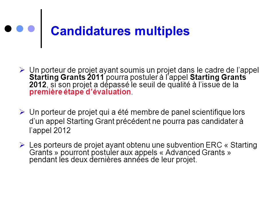 Candidatures multiples Un porteur de projet ayant soumis un projet dans le cadre de lappel Starting Grants 2011 pourra postuler à lappel Starting Gran