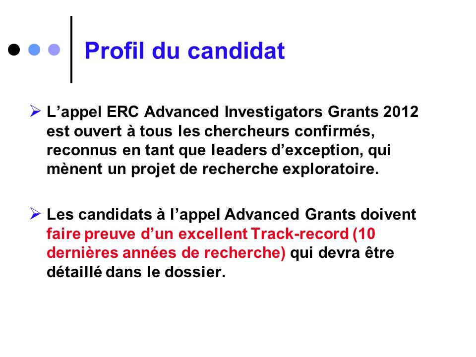 Profil du candidat Lappel ERC Advanced Investigators Grants 2012 est ouvert à tous les chercheurs confirmés, reconnus en tant que leaders dexception,
