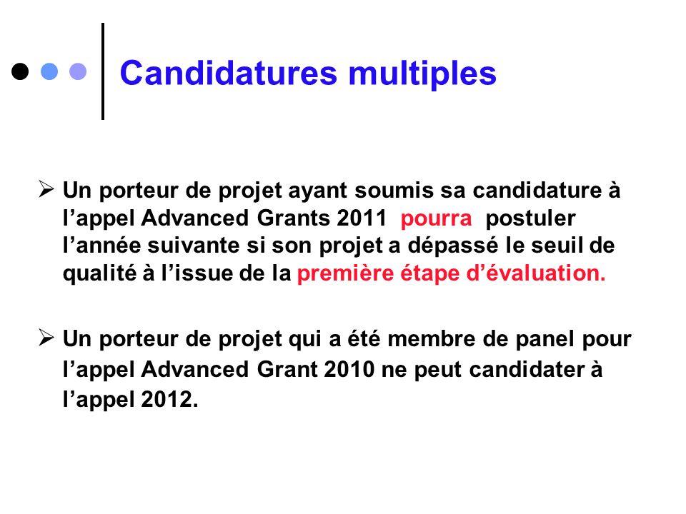 Candidatures multiples Un porteur de projet ayant soumis sa candidature à lappel Advanced Grants 2011 pourra postuler lannée suivante si son projet a