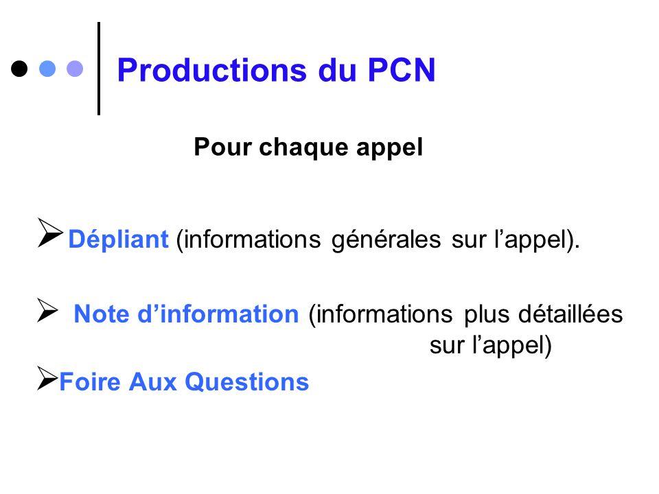 Productions du PCN Dépliant (informations générales sur lappel). Note dinformation (informations plus détaillées sur lappel) Foire Aux Questions Pour