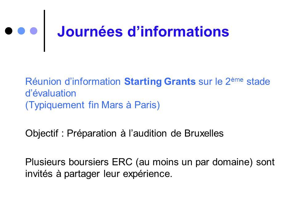 Journées dinformations Réunion dinformation Starting Grants sur le 2 ème stade dévaluation (Typiquement fin Mars à Paris) Objectif : Préparation à lau