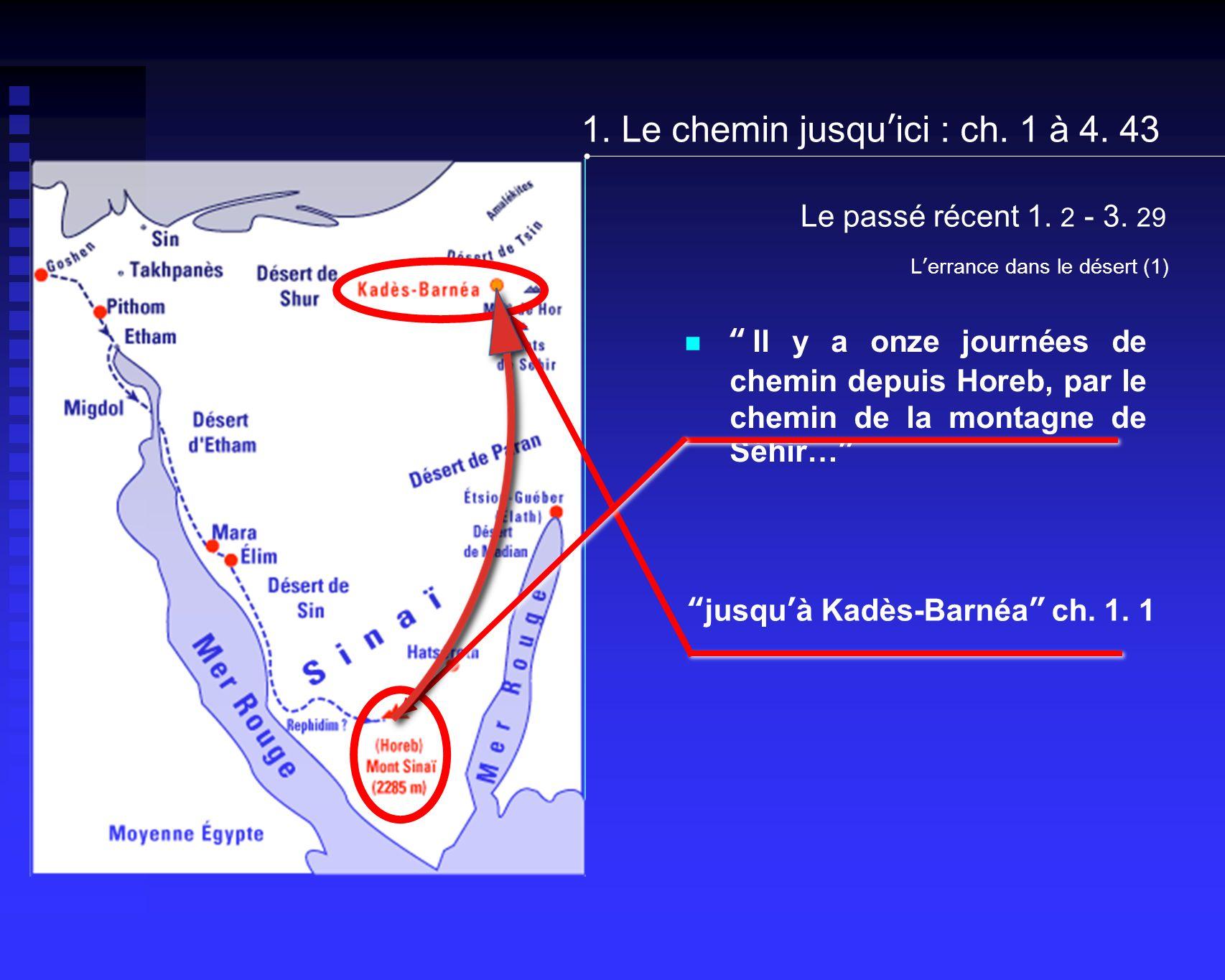 Le passé récent 1. 2 - 3. 29 Il y a onze journées de chemin depuis Horeb, par le chemin de la montagne de Séhir… jusquà Kadès-Barnéa ch. 1. 1 Lerrance