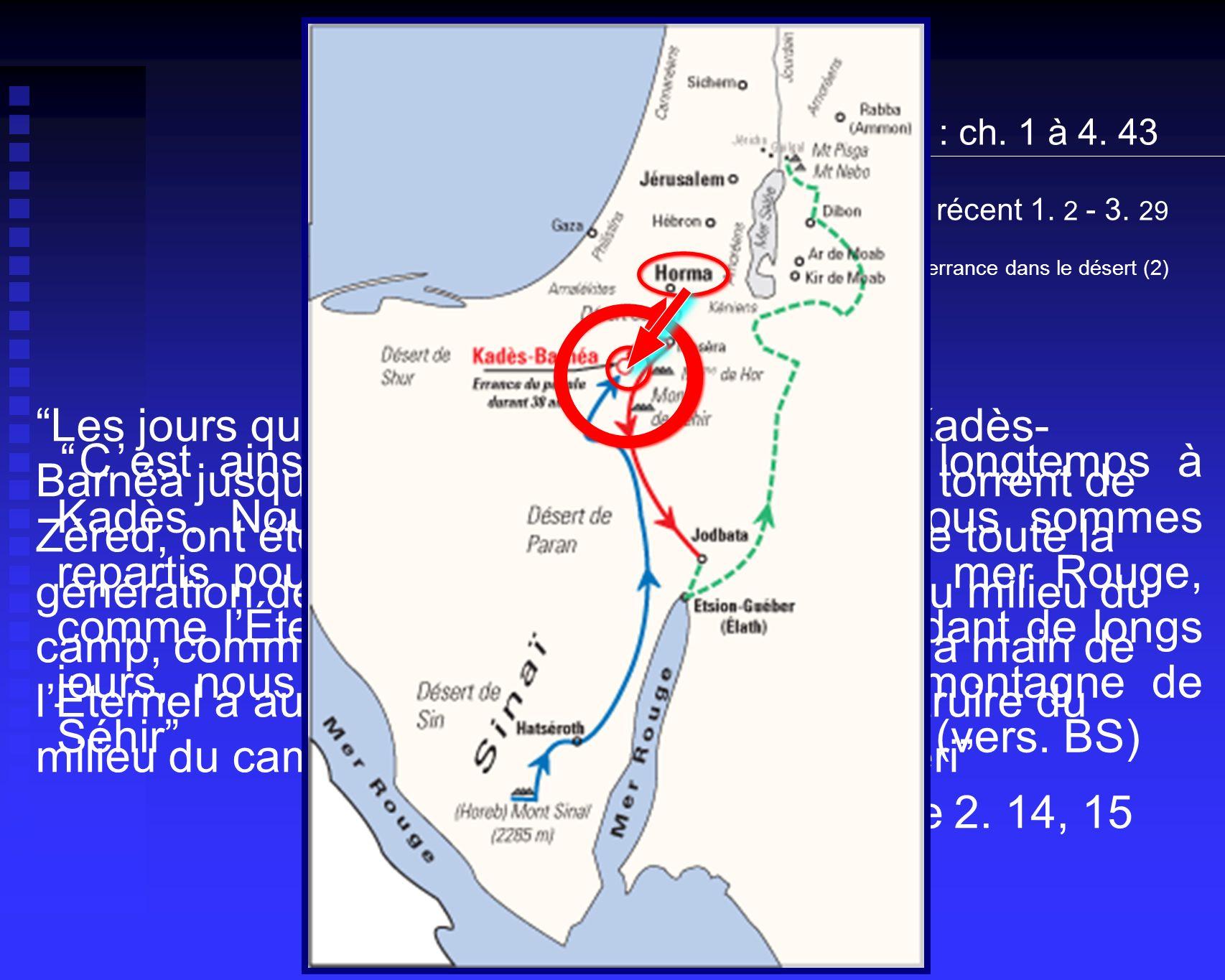 Cest ainsi que vous êtes restés très longtemps à Kadès. Nous avons fait demi-tour et nous sommes repartis pour le désert en direction de la mer Rouge,