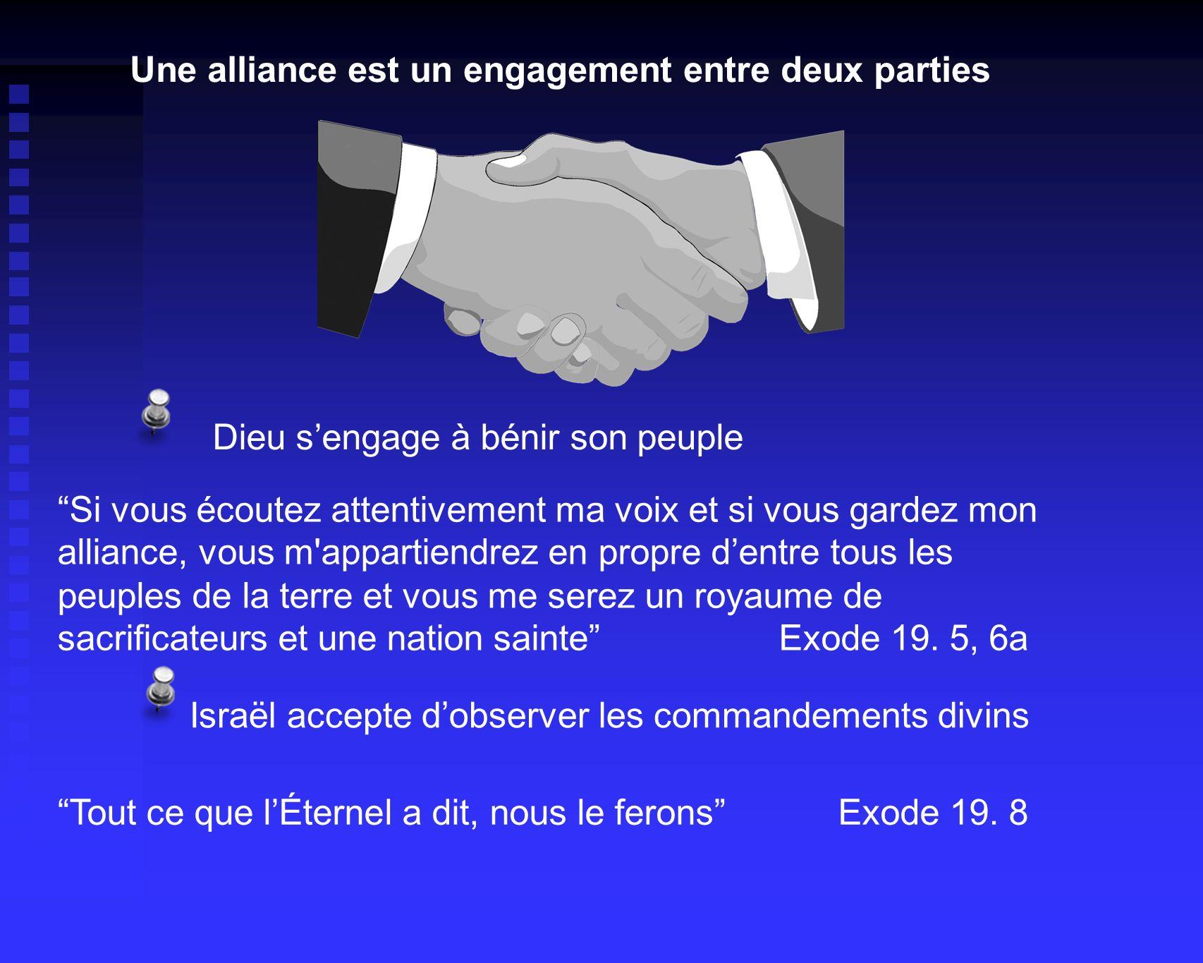 Une alliance est un engagement entre deux parties Israël accepte dobserver les commandements divins Tout ce que lÉternel a dit, nous le ferons Exode 19.