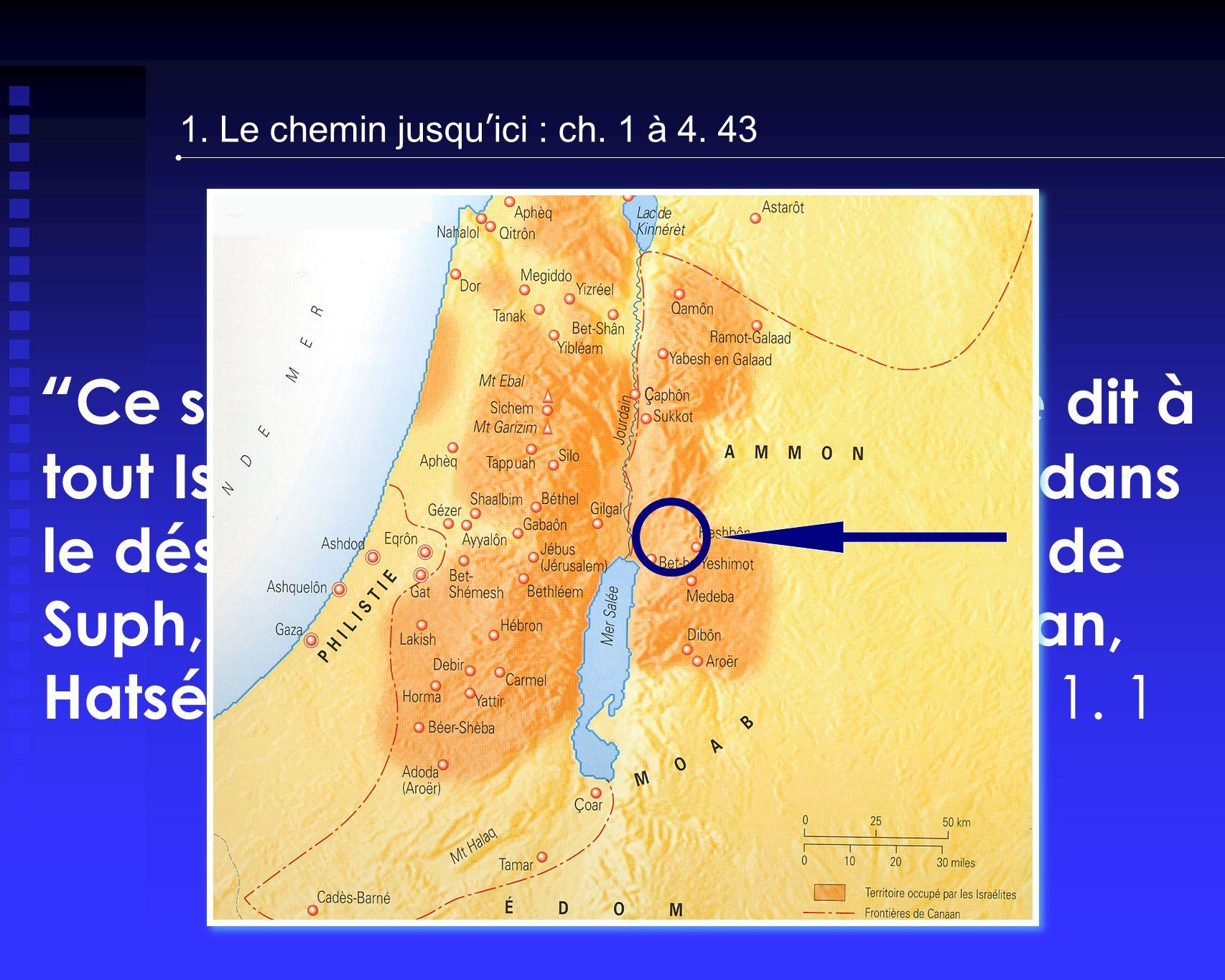 Ce sont ici les paroles que Moïse dit à tout Israël, en deçà du Jourdain, dans le désert, dans la plaine, vis-à-vis de Suph, entre Paran et Thophel, Laban, Hatséroth et Di-Zahab ch.