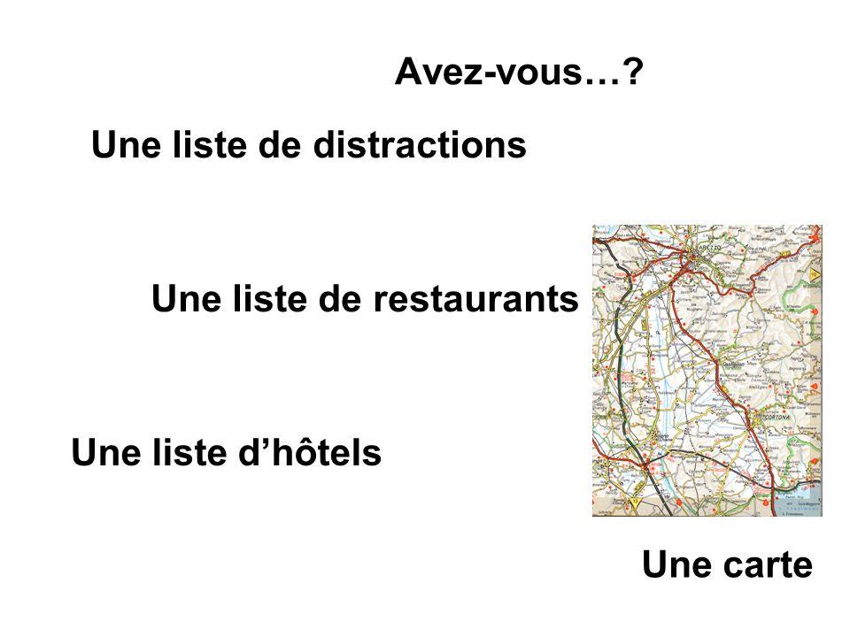 Avez-vous…? Une carte Une liste de distractions Une liste de restaurants Une liste dhôtels