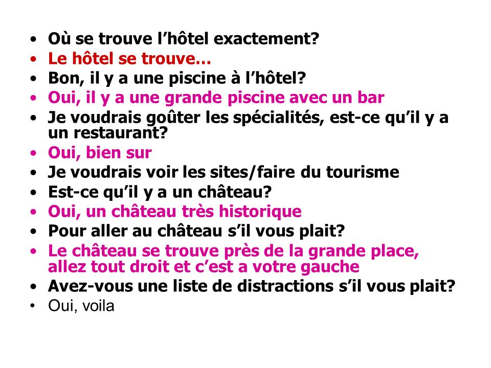 1.Je cherche du logement/une chambre 2.Pour trois nuits, le 12 juillet jusquau 14 juillet 3.Nous sommes quatre 4.Je voudrais deux chambres dans un hôtel près de la plage avec un balcon.