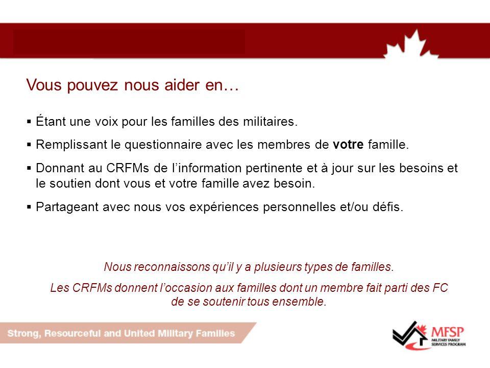 Vous pouvez nous aider en… Étant une voix pour les familles des militaires.
