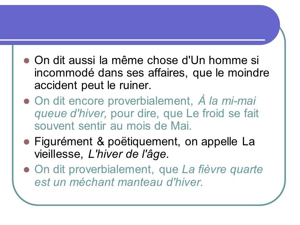 Dictionnaire de L Académie française 6° édition (1832-5) HIVER s.