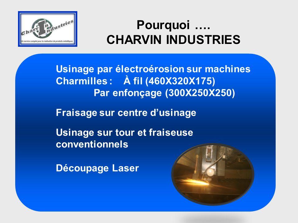 Usinage par électroérosion sur machines Charmilles : À fil (460X320X175) Par enfonçage (300X250X250) Fraisage sur centre dusinage Usinage sur tour et