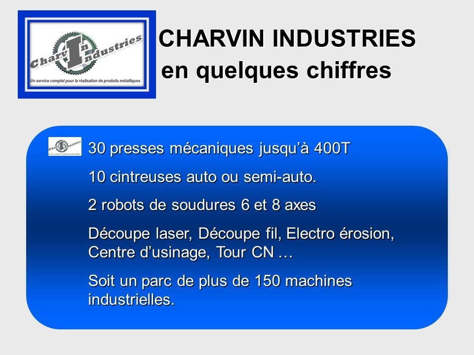 CHARVIN INDUSTRIES CHARVIN INDUSTRIES en quelques chiffres en quelques chiffres 30 presses mécaniques jusquà 400T 10 cintreuses auto ou semi-auto. 2 r