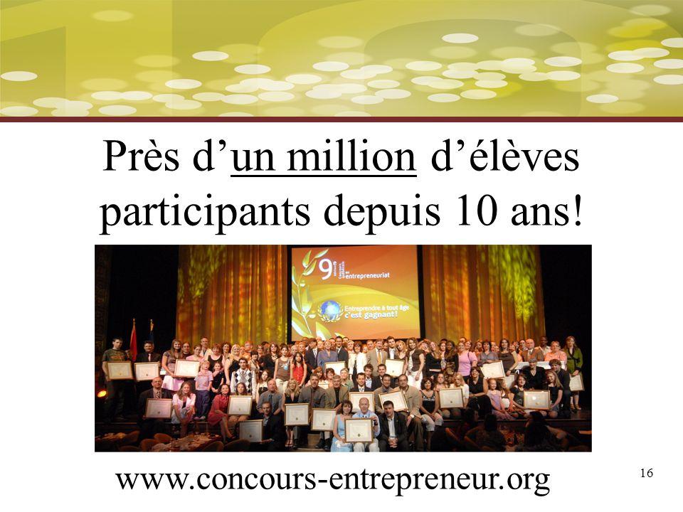 16 www.concours-entrepreneur.org Près dun million délèves participants depuis 10 ans!