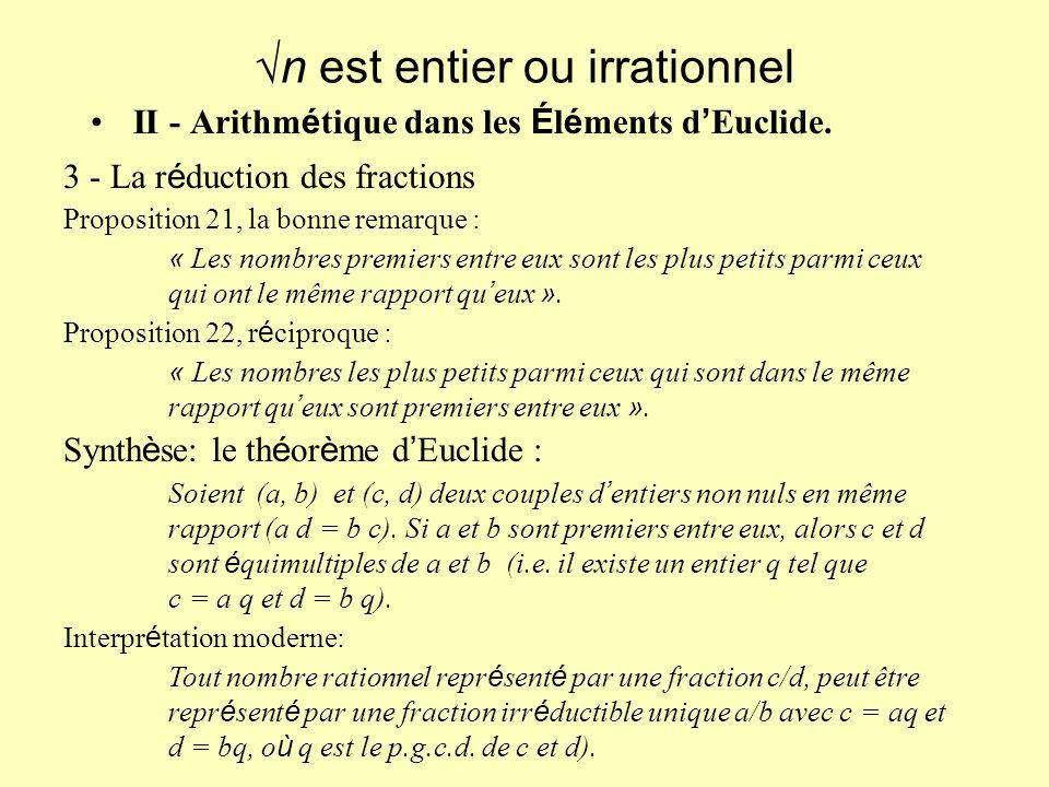 II - Arithm é tique dans les É l é ments d Euclide.