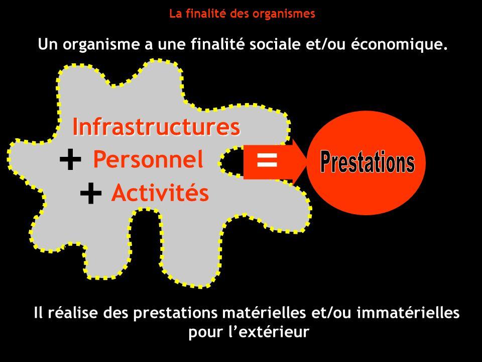 La finalité des organismes Activités + + Un organisme a une finalité sociale et/ou économique. Il réalise des prestations matérielles et/ou immatériel