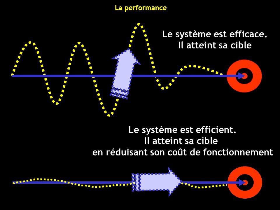 Le système est efficace. Il atteint sa cible Le système est efficient. Il atteint sa cible en réduisant son coût de fonctionnement La performance