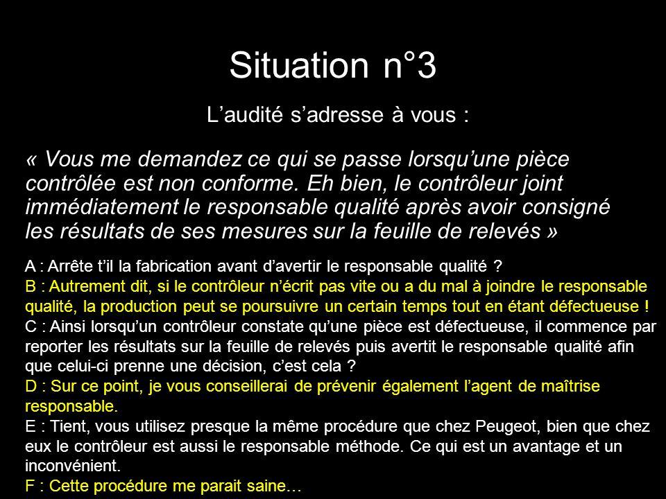 Situation n°3 Laudité sadresse à vous : « Vous me demandez ce qui se passe lorsquune pièce contrôlée est non conforme. Eh bien, le contrôleur joint im