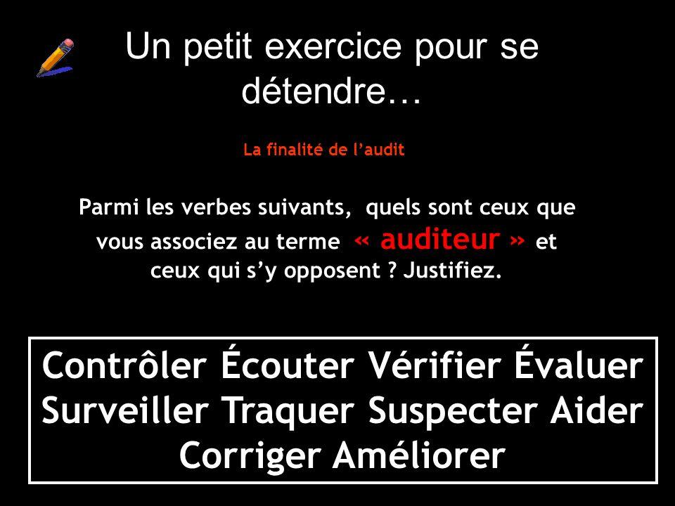 Contrôler Écouter Vérifier Évaluer Surveiller Traquer Suspecter Aider Corriger Améliorer Parmi les verbes suivants, quels sont ceux que vous associez