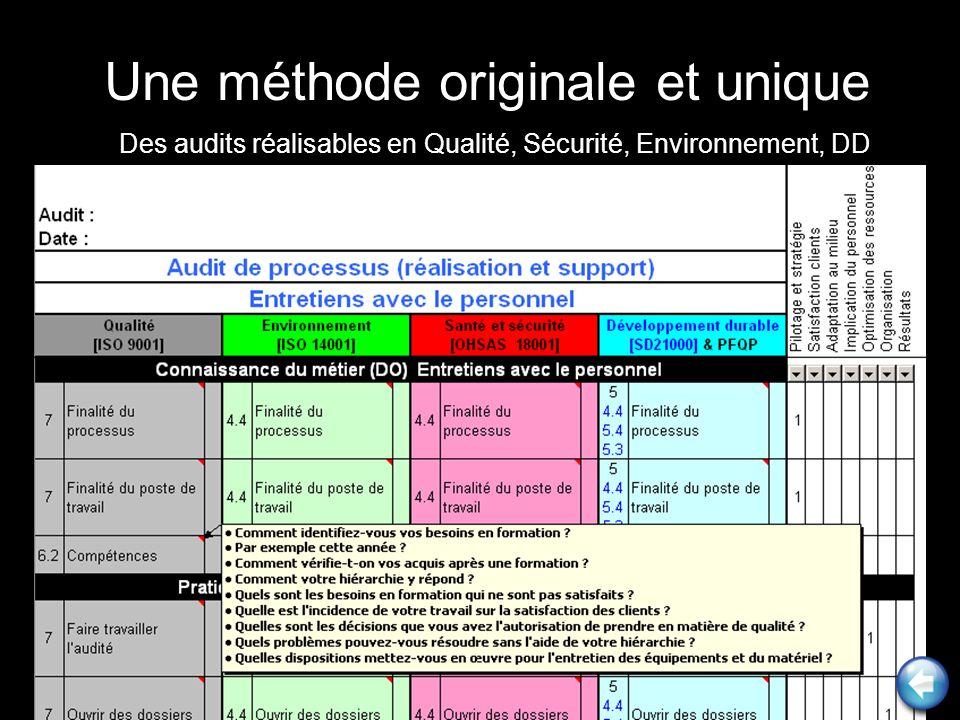 Une méthode originale et unique Des audits réalisables en Qualité, Sécurité, Environnement, DD
