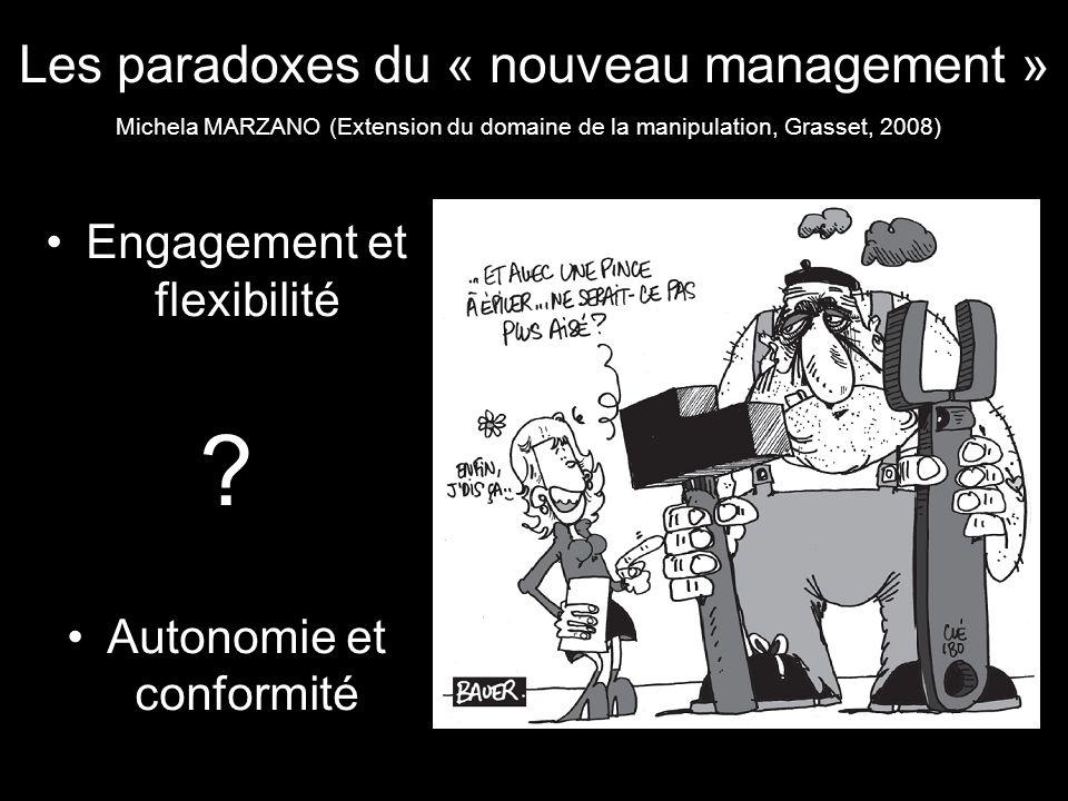 Les paradoxes du « nouveau management » Engagement et flexibilité ? Autonomie et conformité Michela MARZANO (Extension du domaine de la manipulation,