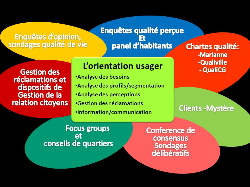 Lorientation usager Analyse des besoins Analyse des profils/segmentation Analyse des perceptions Gestion des réclamations Information/communication