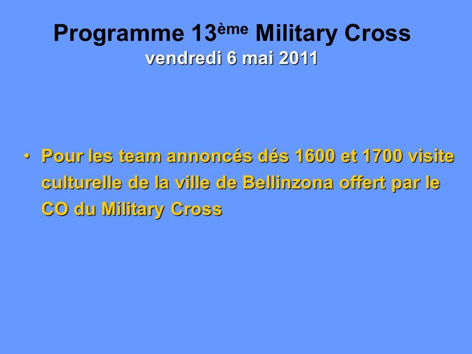 Pour les team annoncés dés 1600 et 1700 visite culturelle de la ville de Bellinzona offert par le CO du Military CrossPour les team annoncés dés 1600