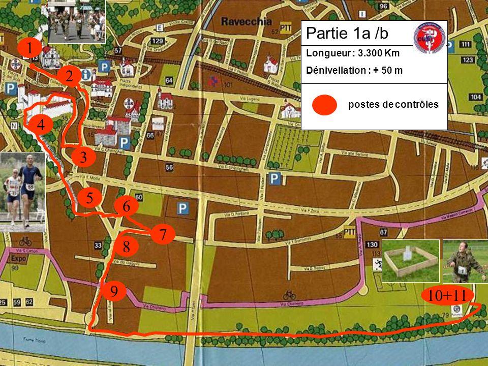 1 3 2 4 5 8 9 10+11 6 7 Longueur : 3.300 Km Dénivellation : + 50 m postes de contrôles Partie 1a /b