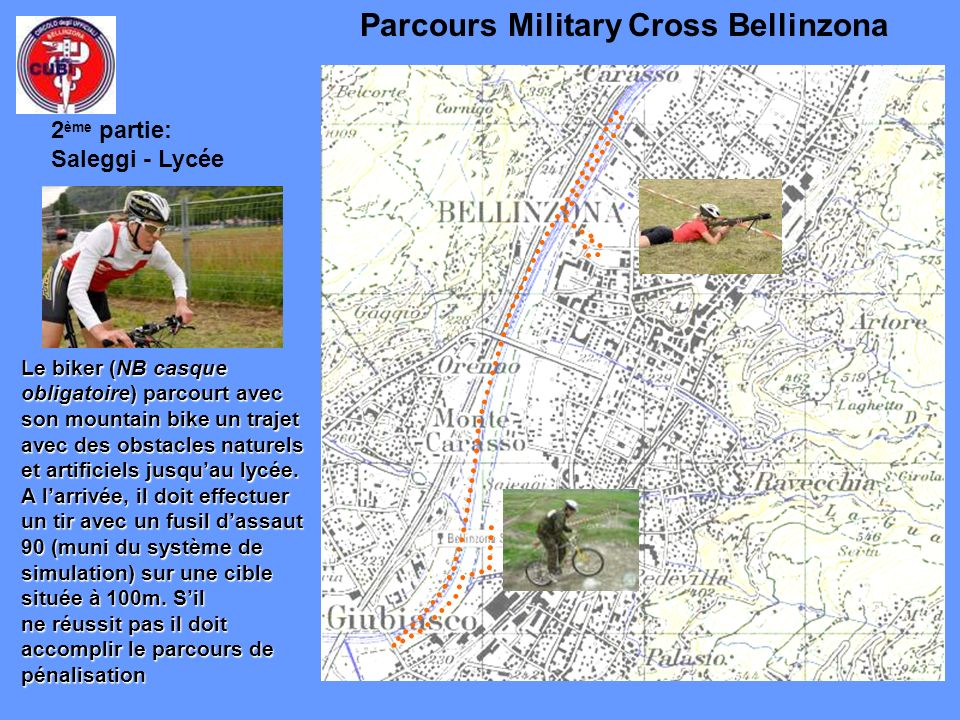 Parcours Military Cross Bellinzona Le biker (NB casque obligatoire) parcourt avec son mountain bike un trajet avec des obstacles naturels et artificie