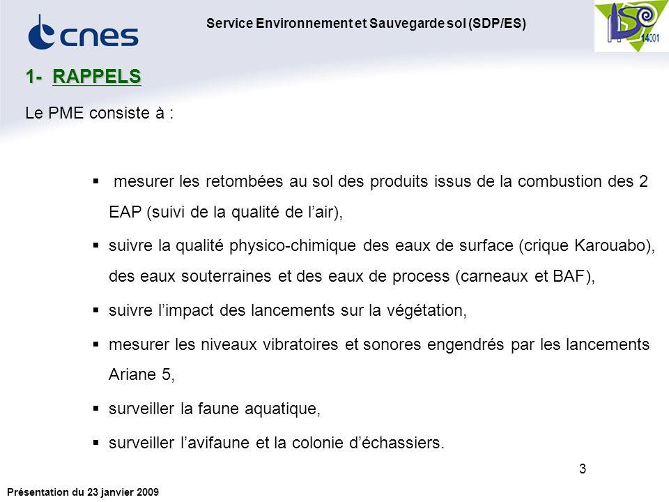 Service Environnement et Sauvegarde sol (SDP/ES) Présentation du 23 janvier 2009 3 Le PME consiste à : mesurer les retombées au sol des produits issus de la combustion des 2 EAP (suivi de la qualité de lair), suivre la qualité physico-chimique des eaux de surface (crique Karouabo), des eaux souterraines et des eaux de process (carneaux et BAF), suivre limpact des lancements sur la végétation, mesurer les niveaux vibratoires et sonores engendrés par les lancements Ariane 5, surveiller la faune aquatique, surveiller lavifaune et la colonie déchassiers.
