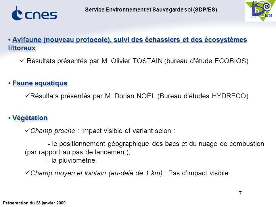 Service Environnement et Sauvegarde sol (SDP/ES) Présentation du 23 janvier 2009 7 Avifaune (nouveau protocole), suivi des échassiers et des écosystèmes littoraux Avifaune (nouveau protocole), suivi des échassiers et des écosystèmes littoraux Résultats présentés par M.