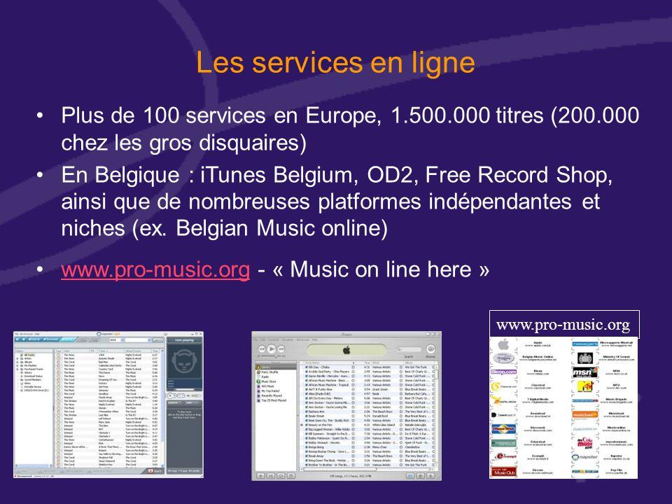 Les services en ligne Plus de 100 services en Europe, 1.500.000 titres (200.000 chez les gros disquaires) En Belgique : iTunes Belgium, OD2, Free Record Shop, ainsi que de nombreuses platformes indépendantes et niches (ex.