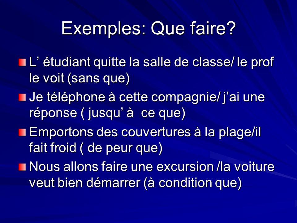 Exemples: Que faire.